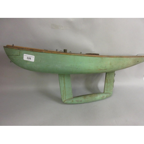 326 - Early 20th Century green painted wooden pond yacht...