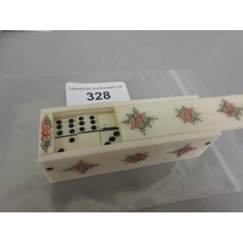 328 - Boxed set of prisoner of war type bone dominoes in a decorated case...