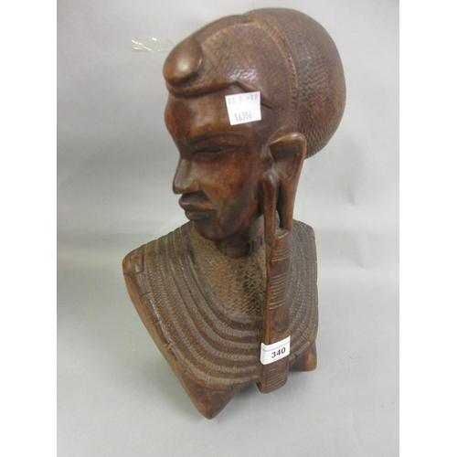 340 - 20th Century carved hardwood African bust 13.5ins high...