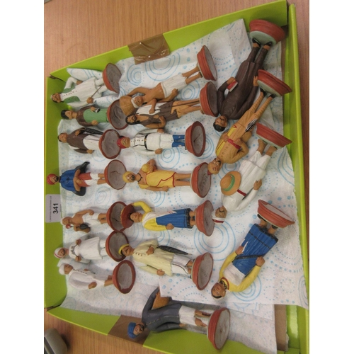 341 - Collection of Indian clay figures with handpainted finish, some bearing pencil signatures to bases (...