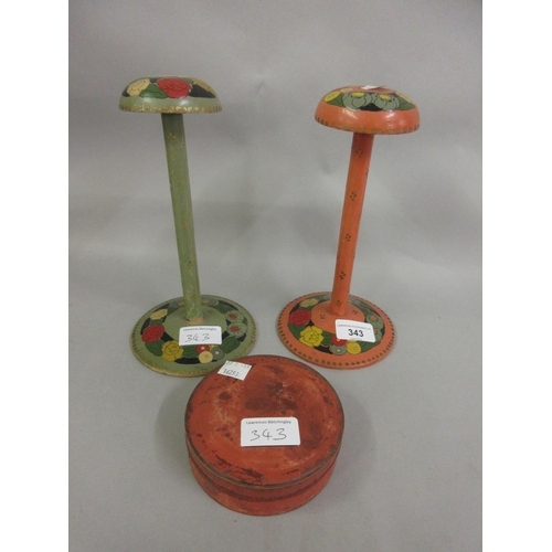 343 - Pair of Art Deco painted wig stands together with a circular lacquered box (at fault)...