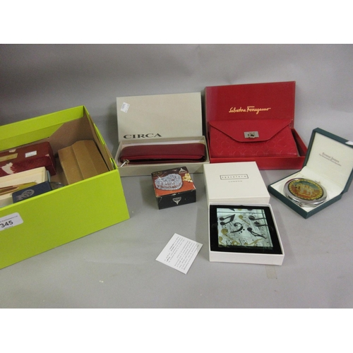 345 - Salvatore Ferragamo leather purse in original box together with a quantity of other boxed presentati...