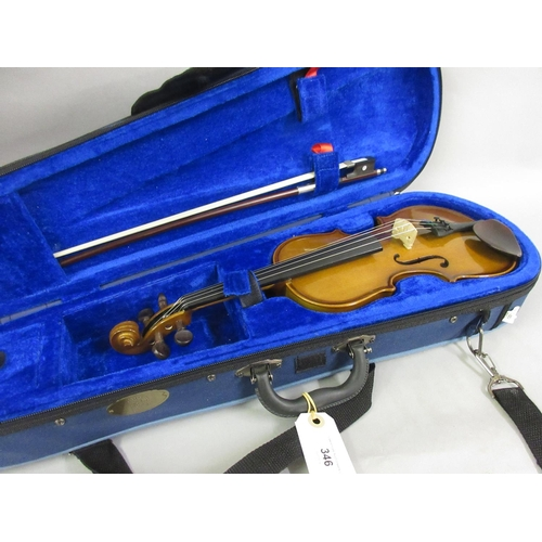 346 - Stentor 10.25 inch student violin with bow in fitted travel case...