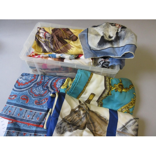 35 - Small box containing a collection of various ladies silk headscarves...