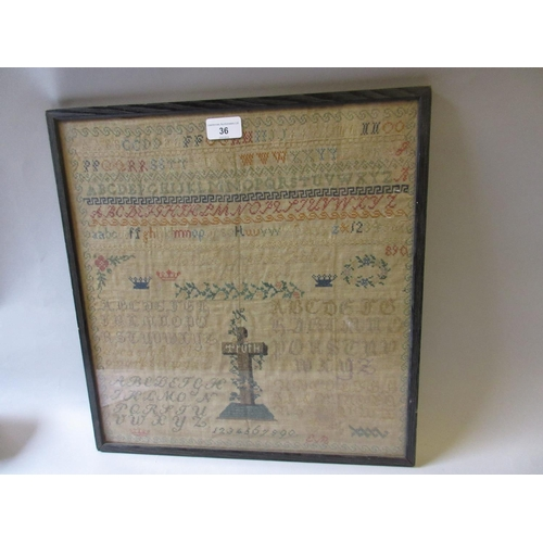 36 - 19th Century alphabetical, numerical and pictorial sampler by Matilda Louisa Hall, dated 1864, 16ins...