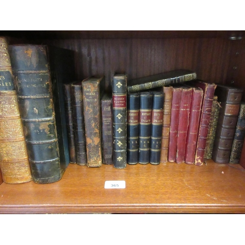 365 - Quantity of various leather bound volumes including three small volumes, ' History of England '...
