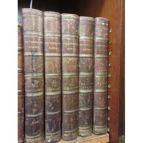 368 - Set of five part leather bound volumes, ' Picturesque Europe ', published Cassell & Company...