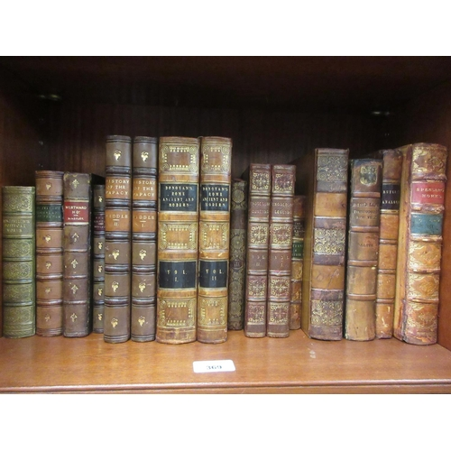 369 - Quantity of various leather bound volumes including two volumes, ' History of the Papacy '...