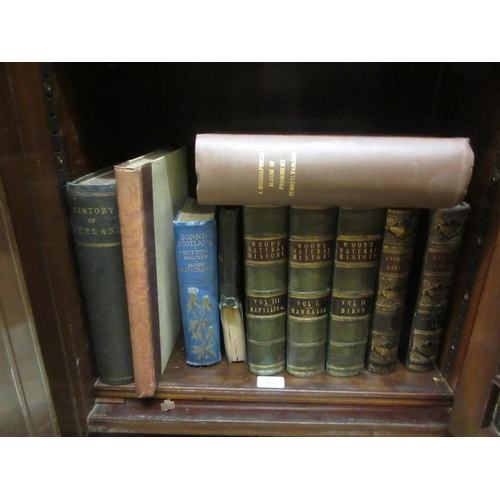 375 - Three part leather bound volumes, ' Wood's Natural History, Mammals, Birds and Reptiles ', two volum...