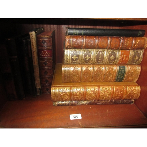 376 - Quantity of leather and other bound volumes including ' The Royal Shakespeare ' and ' Gray's Poems a...