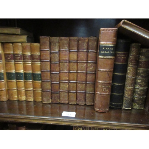 377 - Quantity of part leather bound volumes including five volumes, ' Pepys Diary and Correspondence '...