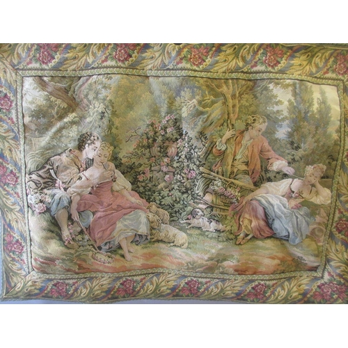 38 - 20th Century French machine woven tapestry of lovers in a landscape, 26ins x 32ins...