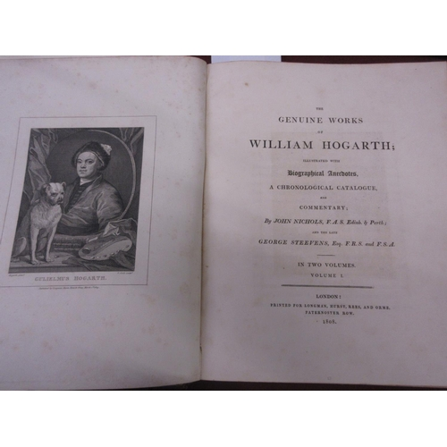 380 - Two leather bound volumes, ' Works of William Hogarth ', printed Longman Hurst Rees and Orme, Patern...