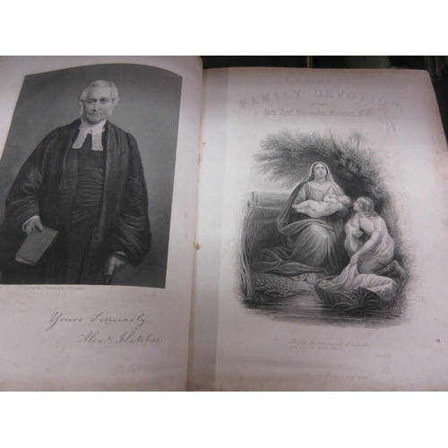 400 - Large 19th Century leather bound family bible and four other various books, and a 19th Century ' Gui...