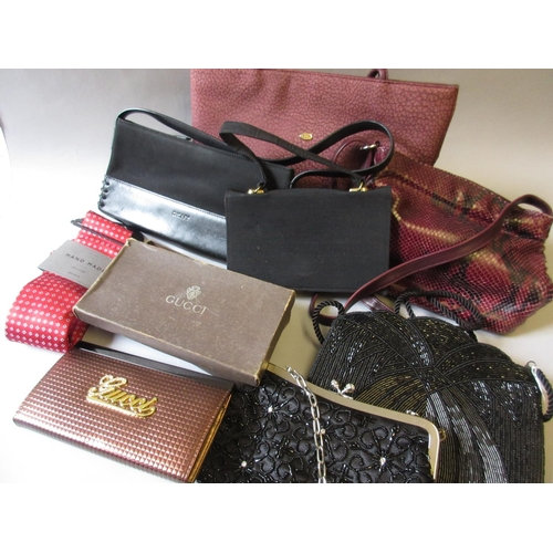 41 - Three various handbags, two black beaded evening bags and a small fabric evening bag by Harrods, pur...