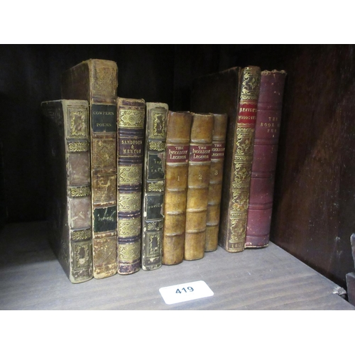419 - Group of seven small part leather bound volumes, ' The Book of Fun ', ' Bewicks Wood Cuts ', ' Ingol...