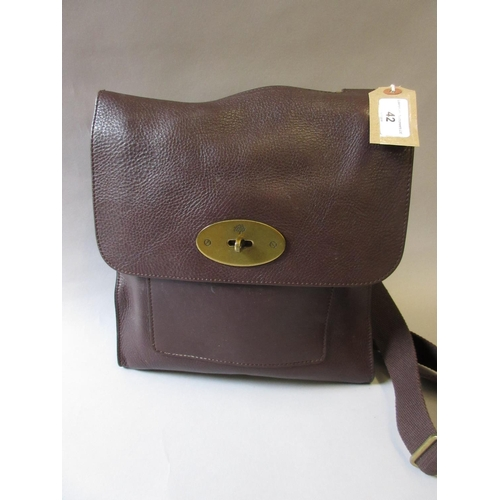 42 - Mulberry brown leather Antony crossover messenger bag...