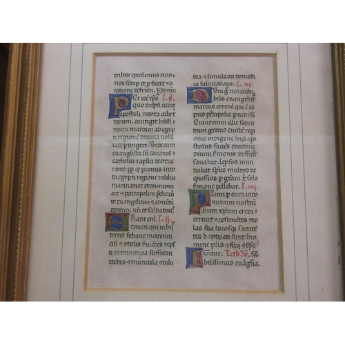423 - Framed 15th Century Italian Breviary leaf on vellum with initials heightened in gold, red, blue, gre...