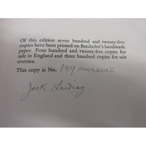 426 - One volume ' Jack Lindsay Lysistrata ', published Fanfrolico Press, London, signed by the author and...