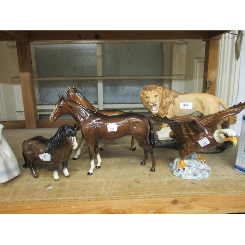432 - Group of four Beswick figures, a lion, an eagle and two horses, together with a Royal Doulton figure...