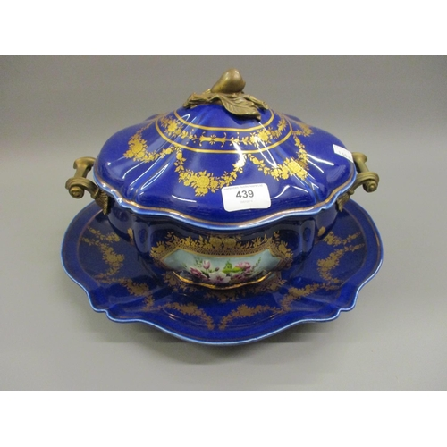 439 - Modern floral decorated blue pottery tureen with cover and stand and metal handles...