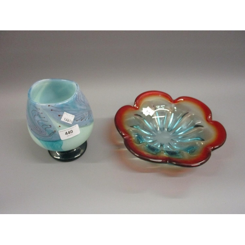 440 - David Wallace, Art Glass vase together with an Art Glass shallow bowl...