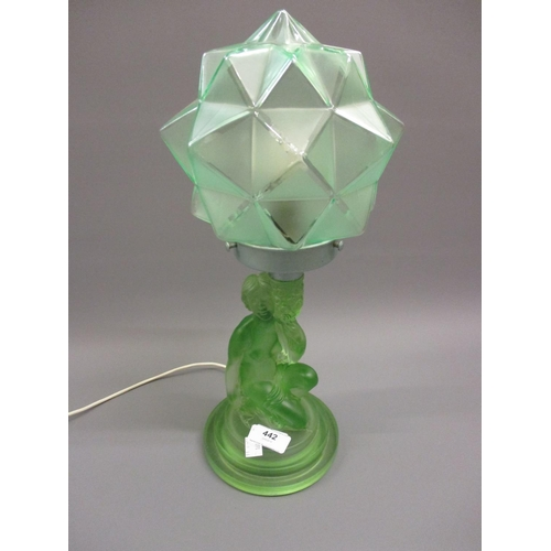 442 - Art Deco green frosted glass figural table lamp with shade...