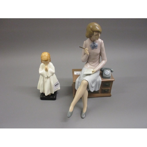 444 - Royal Doulton figure, ' Bedtime ' together with a Nao figure of a lady seated on a desk...