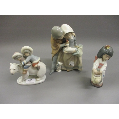 447 - Lladro group of two children, together with another of a Geisha and a Nao figure...