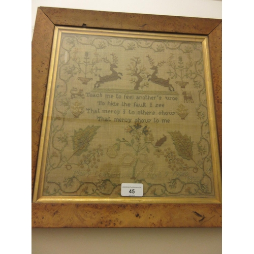 45 - 19th Century motto and pictorial sampler inscribed Mary Challand, aged 9, 1842, 12.5ins x 12ins, map...