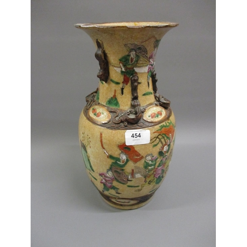 454 - 19th Century Chinese crackleware baluster form vase...