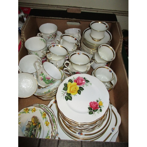 462 - Royal Albert six place setting tea service ' British Songs ' together with another ' June Delight ' ...