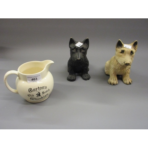 463 - Two figures of dogs for Black and White Whisky advertising, together with a whisky related jug...