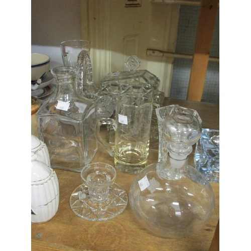 468 - Two moulded glass cheese dishes with covers and sundry other glassware...