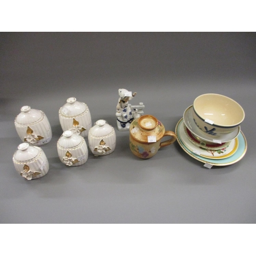 471 - Set of five Continental pottery kitchen storage jars, pottery cup and cover and sundries...