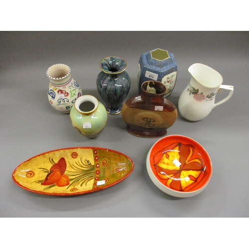 473 - Fenton hexagonal jar, Poole Pottery vase and bowl, other miscellaneous pottery vases...