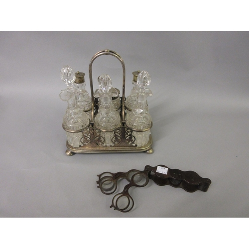 480 - Early to mid 20th Century opticians graduated lens set together with a silver plate and cut glass si...
