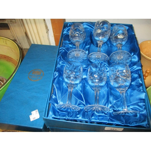 481 - Two sets of boxed Thomas Webb crystal drinking glasses together with a similar boxed decanter...