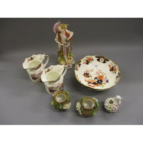 486 - Modern Wedgwood Imari pattern fruit bowl, pair of similar jugs, a George Jones pottery flower bowl w...