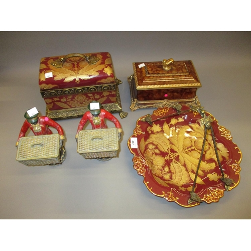 487 - Reproduction ceramic and gilt casket, similar tazza, composition casket and pair of standing figures...