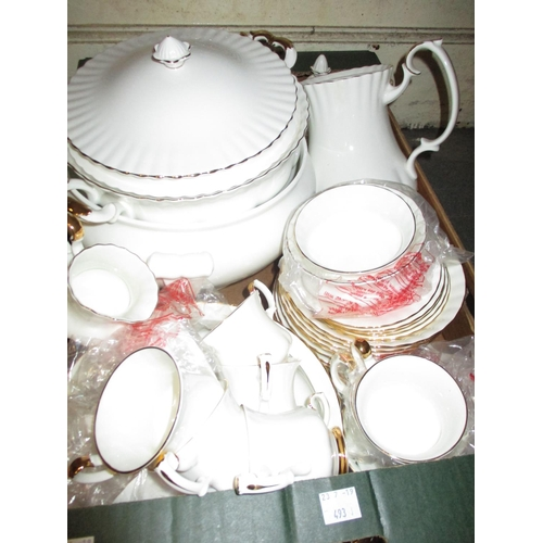 493 - Royal Albert Val D' Or pattern dinner and coffee service for ten places...