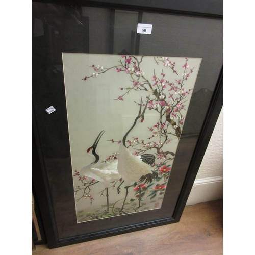 50 - 20th Century Chinese silkwork picture, wading birds in a landscape with red seal mark, 27ins x 15ins...
