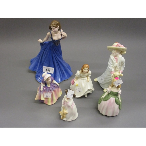 506 - Modern Royal Doulton ' Pretty Ladies ' series figure in original box, together with four other small...