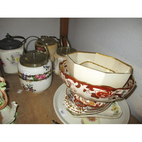 507 - Various items of modern Masons Ironstone and a Portmeirion dish, together with four floral decorated...