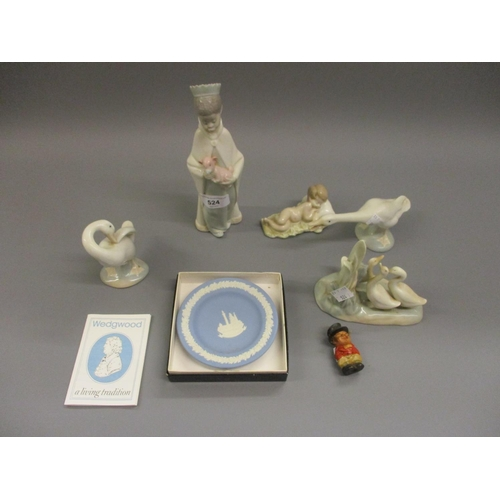 524 - Four various Lladro figures, a Nao group, a boxed Wedgwood small dish and a composite figure of John...