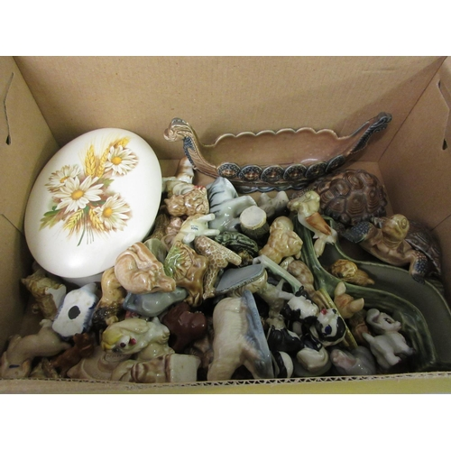 526 - Quantity of various Wade Whimsies animal figures and two dishes...