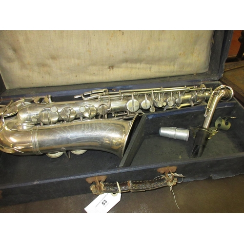53 - Silver plated saxophone inscribed to the bell Rene Guenot, A Douchet and Cie, 35 Rue Claval, Paris, ...