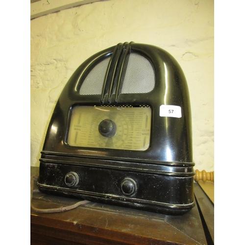 57 - Philco Art Deco brown Bakelite dome top valve radio...