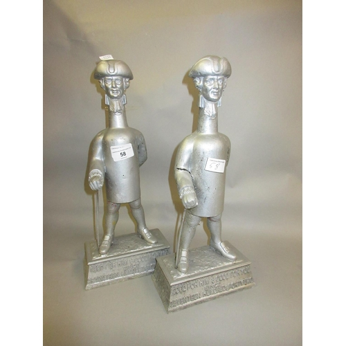 58 - Pair of Worthington cast aluminium advertising figures, ' Good for Him ' and ' Good for You '...