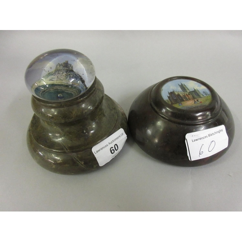 60 - Two 19th Century glass and serpentine paperweights, Gloucester Cathedral and St. Michael's Mount...
